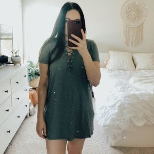Forever 21 Lace Up T-Shirt Dress Green Medium